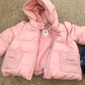 EUC Baby GAP Kids Pink Bow Puffer Coat